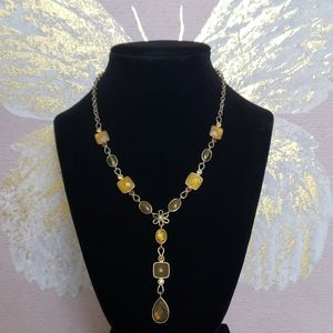 Gorg Amber Daisy Drop Necklace
